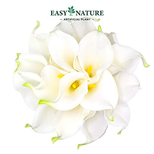 - Easy Nature Artificial Calla Lily Real Touch Latex Wedding Bouquet (Pack of 10,14''L,White)