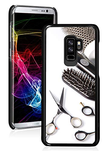 for Samsung Galaxy Hard Back Case Cover Scissors Comb Brush Hair Dresser (Black, for Samsung Galaxy S9)