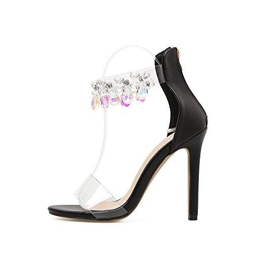 Azmodo Kvinnas Rhinestonekristallen Ankelbandet Stilett Klack Sandal Öppen Tå Brudföljet Skor Svart