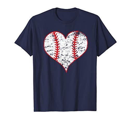 (Vintage Baseball Heart Love Baseball Mom Lover T-shirt)
