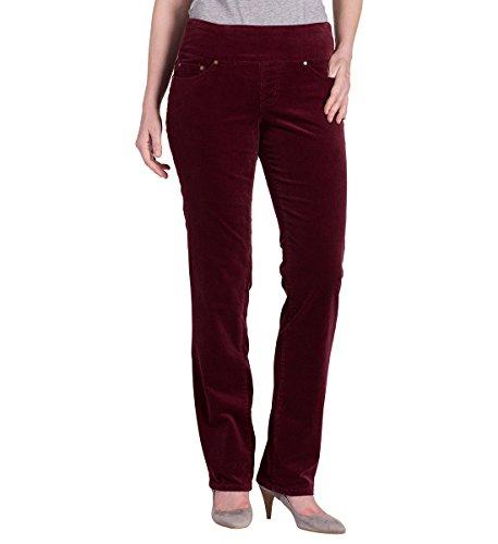 Jag Jeans Women's Peri Pull on Straight in 18 Wale Corduroy 4, Elderberry, 14 (14 Wale Corduroy Pants)
