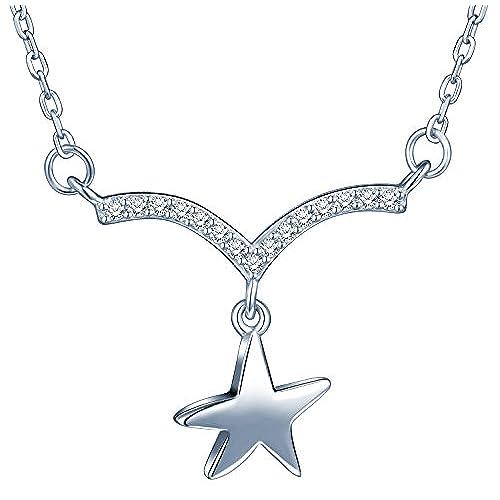 9c1c232466b2 ... para mujer Chica Durable Modelando. Yumi Lok 925 plata de ley  circonitas forma de V estrella colgante collar ajustable Collar con