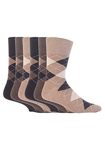 6 Pairs Sockshop Men's Gentle Grip Socks 7-12 usa Beige Brown Argyle MGG41 ()