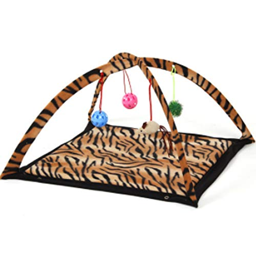 Multi Function Pet Kitten Toy Mat Bed Hammock Tent with Bell Ball Toy for Pet Bed,Leopard