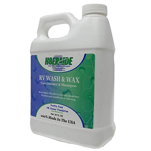 H8eraide RV Wash and Wax 32oz - 100% Biodegradable - Advanced Formula Sheets Water and Improves Drying- Premium RV Wash and Wax for Fiberglass - Makes 32 Gallons of RV Soap!