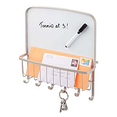 mDesign Mail, Letter Holder, Key Rack Organizer for Office, Entryway, Kitchen with Dry Erase Board - Wall Mount, Satin