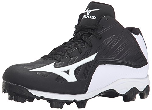 (Mizuno 9 Spike ADV YTH FRHSE8 MD BK-WH Youth Molded Cleat (Little Kid/Big Kid), Black/White, 3 M US Little Kid)