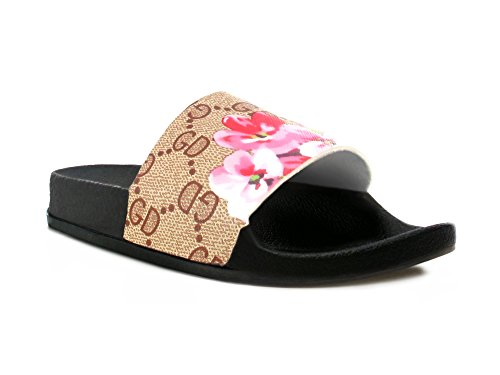 Womens Ladies Black Or Brown Wide Strap Thick Comfy Sponge Platform Sole Slip On Slider Sandals Shoe Sizes 3-8 UK Brown Floral 5Xv8jp