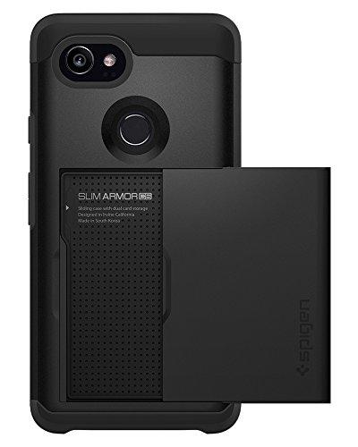 Spigen Slim Armor CS Google Pixel 2 XL Case with Slim Dual Layer Wallet Design and Card Slot Holder for Google Pixel 2 XL (2017) - Black (Slot 2 Wallet)