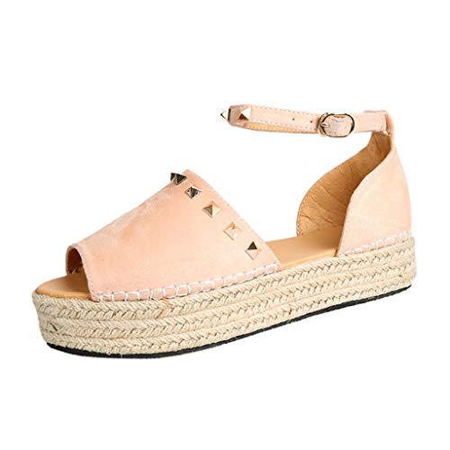 Cenglings Womens Espadrilles Lace Up Flat Platform Ankle Strap Rivets Sandals Wrap Summer D'Orsay Sandals Women Shoes Pink (Revolution Bohemian)