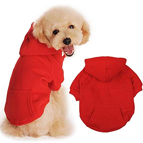 (BaoZhang Pet Fleece Hoodies Basic Cotton Sweatshirt with Pocket Puppy Cat Winter Jacket Dog Cold Weather Coats,Red)