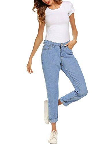 Haute Jeans Taille Jeans Coupe Jean Jeans Droite Femme Basique Skinny Romanstii Slim Light Boyfriend Blue Mom Denim twE7vqWF
