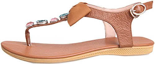 Laruise Women's Bow Leather Flat Sandal Brown 3gEAz