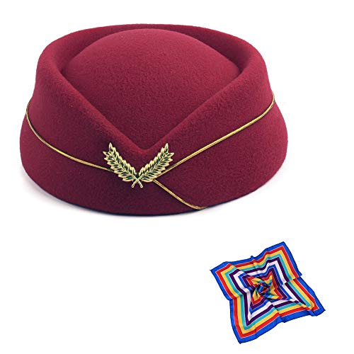 TDAICHAN Wool Felt Stewardess Hat Cosplay Cap-Flight Attendant Gorra for Costume Accessories Beret (Wine Red with ()