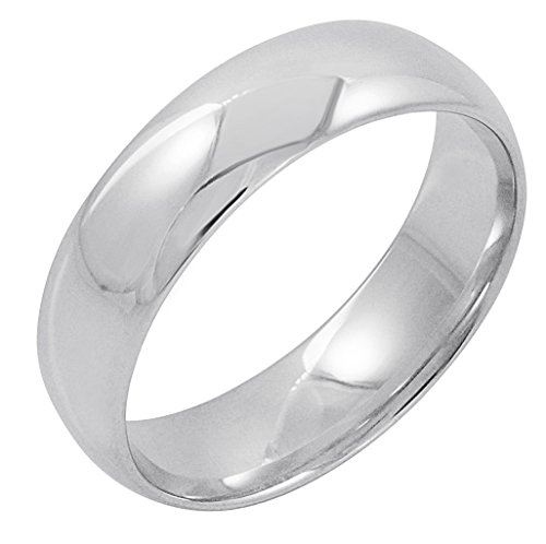 Men's 14K White Gold 6mm Comfort Fit Plain Wedding Band (Available Ring Sizes 8-12 1/2) Size 11.5