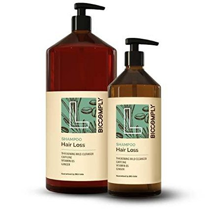 biocomply Shampoo Hair Loss orgánico, Acción intensificante ottenuto con cafeína, Jengibre y Vitamina B5