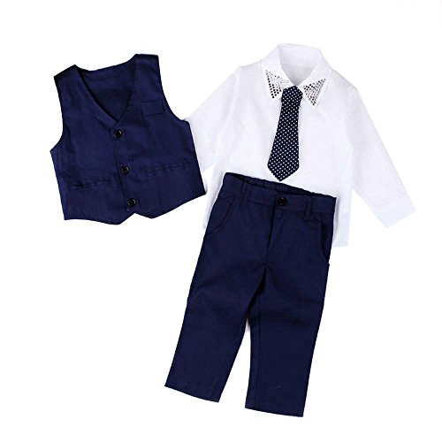 Boys Formal Gentleman Outfits Set,Shirts+Waistcoat+Long Pants+Tie Baby Clothes (6T, Blue) ()