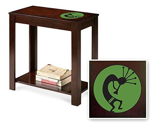 New Cappuccino / Espresso Finish End Table featuring Green Kokopelli Decal Logo Theme