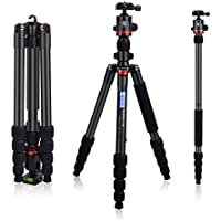 3WE 65 DSLR Tripod, Lightweight and Compact Aluminum Camera Tripod with 360 Panorama Ball Head Quick Release Plate for Travel and Work (Black)