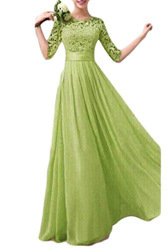 Coolred-femmes Robe De Soirée En Dentelle Plissée Coutures Mince Vert Robe Longue Équipée