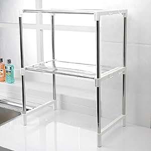 Keraiz - Soporte ajustable cromado para horno de microondas, estante lateral de la unidad, organizador Caddy con ganchos para colgar, color blanco