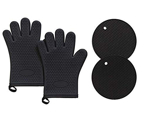 PECHAM Silicone Oven Mitts and Potholders Kitchen Round Trivet Mats | Heat Resistant 450°F | Oven Mitt Non-Slip Textured Grip Pot Holders Set of 2 Gloves and 2 trivets - Black by PECHAM