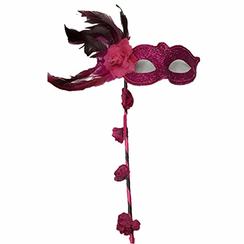Mardi Gras Party Masquerade Mask,Halloween Makeup Dance Performance mask Christmas Edging Gold Powder with Flower Hand mask Rose Prom -