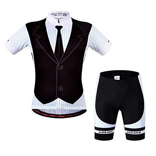 (WOSAWE Mens Breathable Cycling Jersey Padded Shorts (Suit, S))