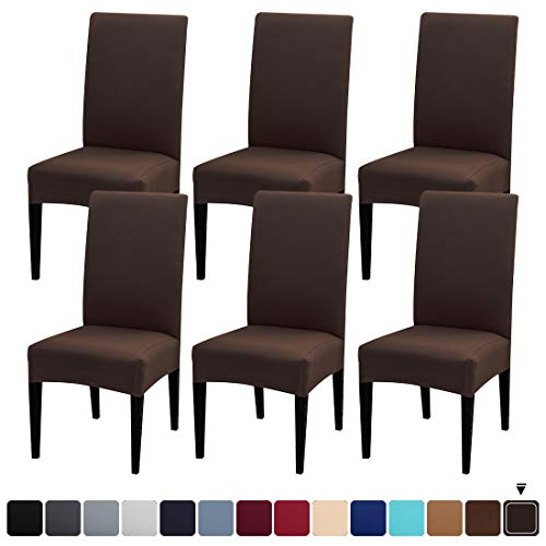 JQinHome 6 Pcs Dining Chair Slipcover,High Stretch Removable Washable Chair Seat Protector Cover for Home Party Hotel Wedding Ceremony (Pack of 6, Coffee)