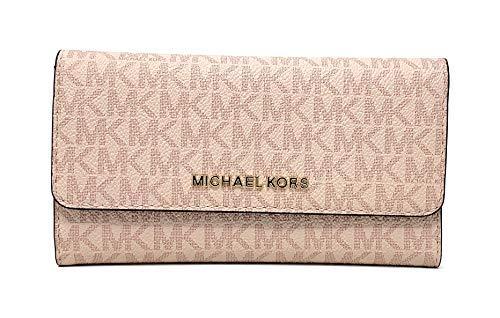Michael Kors Jet Set Travel Large Trifold Signature PVC Wallet (Fawn/Ballet)