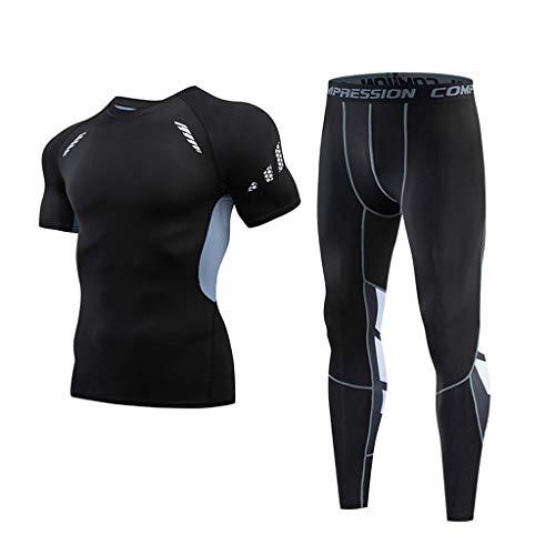 Jincheng665 コンプレッションウェア 半袖 2点セット フィットネス ウェア パンツ tシャツ メンズ トレーニング スポーツウェア インナー ランニング 無地 運動着 上下 長ズボン