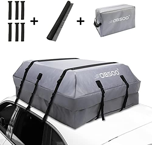 OBSOO Car Rooftop Cargo Carrier Bag, 20 Cubic Feet 100% Waterproof Car Roof Cargo Bag for All Vehicles with/Without Racks, with Storage Bag, Anti-Slip Mat and 6 Door Hooks (Silver)