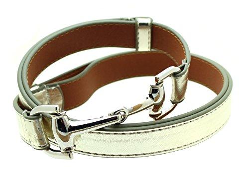 Womens Thin Skinny Metal Tone Leather Belt Horsebit Buckle - Gold
