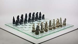 Vampire Vs. Werewolf Figurines Hand Painted Chess Set, Multicolor