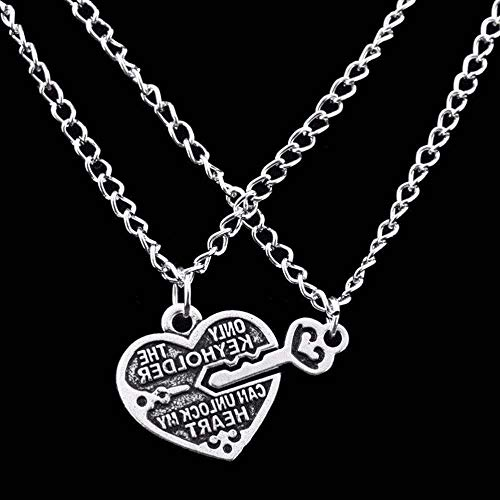 1 Pair Heart Key Locket Necklace Collar Best Friends Pendant Necklace - Pewter Pendant Harmony