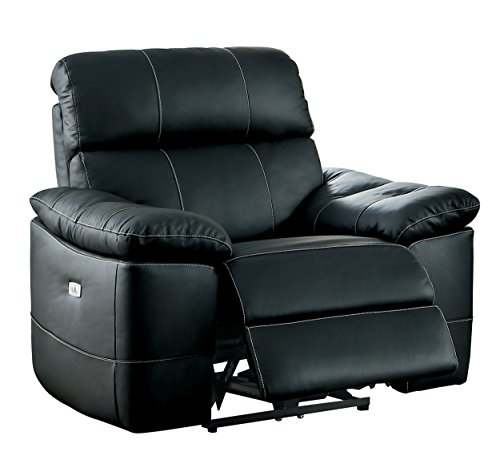 Homelegance Nicasio Contemporary All Genuine Leather Power Reclining Chair, Black by Homelegance