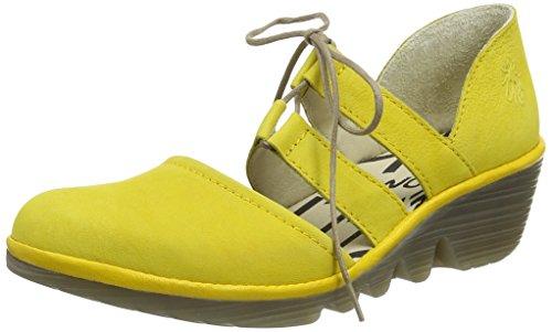 Fly London P500532019, Zapatos de Cuñas Mujer Amarillo (Lemon/Lemon 024)