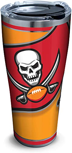 Tervis 1281936 NFL Tampa Bay Buccaneers Color Rush Blaze Stainless Steel Insulated Tumbler with Clear and Black Hammer Lid, 30oz, Silver