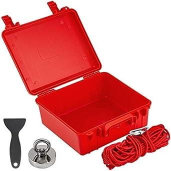 Neodimio N42 Colore Rosso VEVOR Magnete al Neodimio con Corda Solida da 20 Metri Acciaio A3 Kit Magnete Neodimio da Forza di Trazione a 500 Libbre Kit di Magneti per Pesca Magnete da Pesca