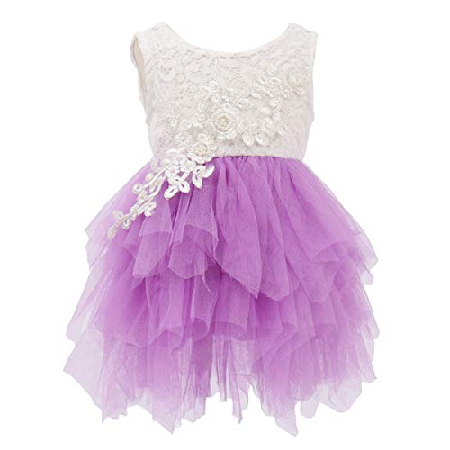 OBEEII Little Girl Lace Flower Beaded Tutu Dress Sleeveless Backless Tiered Princess Wedding Bridesmaid Formal Birthday Party Dresses 18 Months -