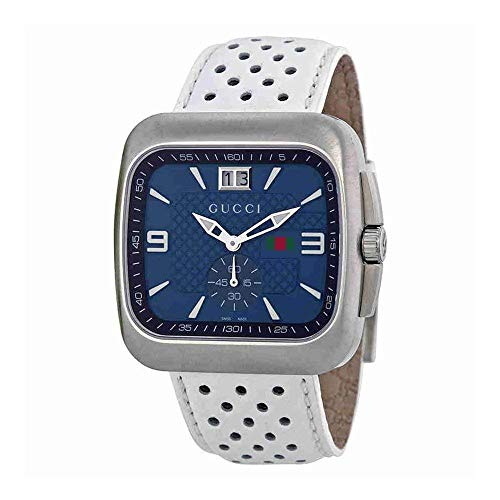 Gucci G Coupe Quartz Blue Dial Leather Strap Men's Watch YA131304