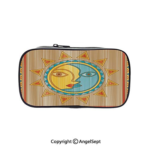 Cute Pencil Case - High Capacity,Traditional Day and Night Allegory Square Frame Borders Aboriginal Pagan Art Decorative Multicolor 5.1inches,Multifunction Cosmetic Makeup Bag,Perfect Holder for Penc -