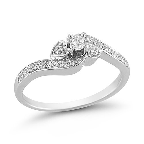 10k White Gold Diamond Engagement Ring (1 and 4 Cttw I-J Color, I2-I3 Clarity), Size 7