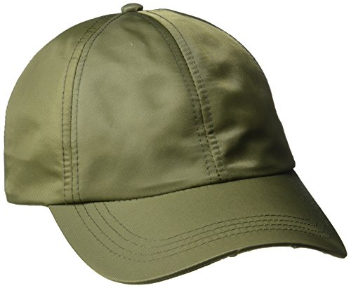 Baseball Olive Hat (D&Y Women's Solid Satin Baseball Cap, Olive, One Size)