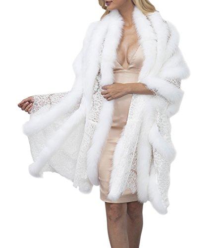 VLUNT Femmes Chale de Fausse Fourrure Renard Doux Imitation Fourrure Etoles Dcontracte Fourrure Synthetique Cape Automne Hiver Vetements Blanc