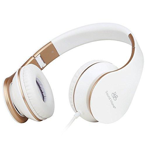 Sound Intone I65 Casque Stro - Nouvelle Gnration Design Ergonomique Pliable avec Commande de volume - Compatible avec PC Tlphones Portables Intelligents (iPhoneSamsung) PSP Ipod et Mp3 (BlancOR)