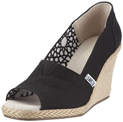 Amazon.com | TOMS Women's Wedge Sandal Black Canvas Size 6 ...