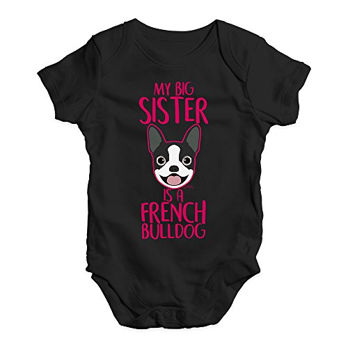 Funny Infant Baby Bodysuit My Big Sister is A French Bulldog Baby Unisex Baby Grow Bodysuit 3-6 Months Black