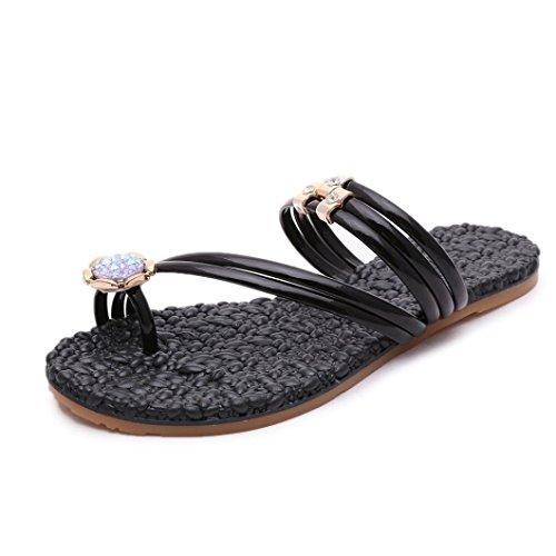 Kaiki Frauen Flacher Boden Wasserbohrer Sandalen Mode Sommer flache Flip Flops Sandalen Schuhmacher Böhmen Schuhe Black