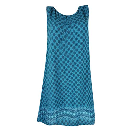 Women's Summer Sexy O Neck Polka Dot Printed Sleeveless Vintage Casual Loose Dress ()
